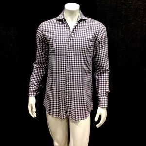 Hugo Boss Men's Purple Gingham Plaid Slim Shirt